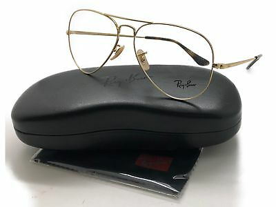 c63c75def4 RAY BAN Pilot Aviator Gold Clear RX6489 2500 58 140 RX Eyeglasses ...