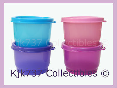 Brand New Rare Set Of 4 Tupperware Snack Cup Containers W/ Seals - Pink Purple +