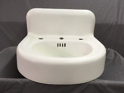 Antique Cast Iron White Porcelain Powder Bath Wall Sink Old Standard Vtg 605-18E