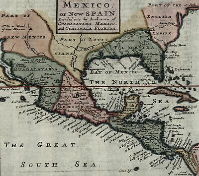 North America New Spain Florida New Mexico Louisiana English 1701 Moll map