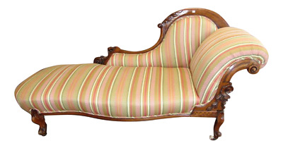 Antique English Striped Fabric Cabriole Legs Walnut Chaise Lounge, Love Seat