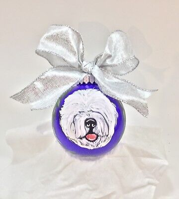 """Old English sheepdog and sheep 3.5""""  HAND PAINTED shatter proof Ornament purple"""