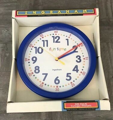 Vtg Ingraham Electric Kids Nursery Alarm Clock Made in USA Great Colors and Look