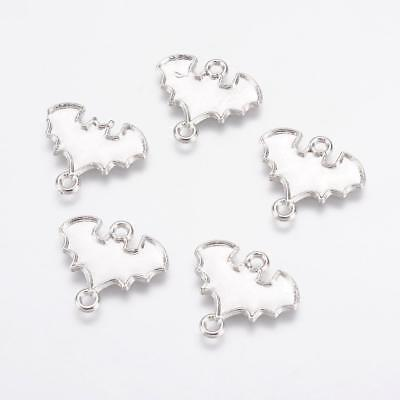 1 Bat connector charm  antique silver tone stainless steel HC257