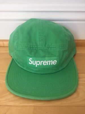 df09929a0b98b Supreme Washed Chino Twill Camp Cap Hat Lite Kelly Green Brand New SS18