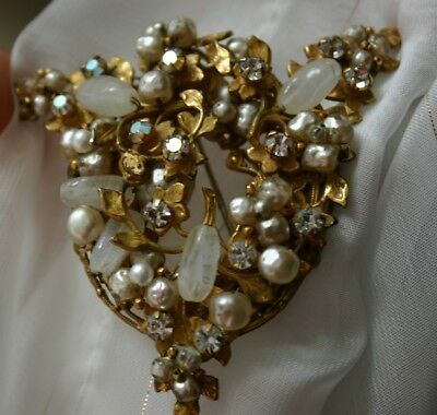 Gorgeous ORIGINAL BY ROBERT Baroque Pearl and Rhinestone Statement Brooch WOW!
