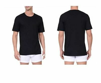 NWD Nautica Men's 3-Pack Tagless Crew Neck T-Shirt w/ Stretch (BLACK, SMALL)