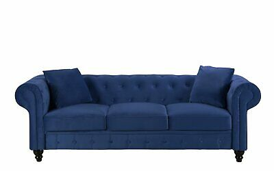 CLASSIC VELVET SCROLL Arm Tufted Button Chesterfield Sofa (Blue ...