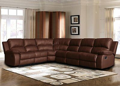 LARGE BONDED LEATHER Sectional Sofa with Reclining End Seats ...
