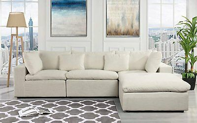 CLASSIC LARGE BEIGE Fabric Sectional Sofa, L Shape Couch with Wide ...