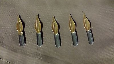 5 Vintage Spencerian Gilt-Point Dome Point No 42 Dip Pen Unused Nibs-England