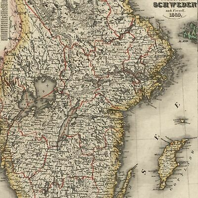 Europe Scandinavia Southern Sweden Stockholm city plan inset 1849 Meyer map