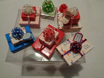set of 7 pre-owned stored miniature fancy gift wrapped packages dollhouse scale