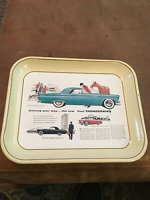 Vtg 1970's Ford Advertising Metal Tray The New 1955 Ford Thunderbird Ad FoMoCo