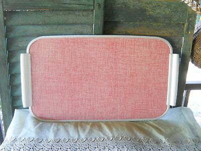 Vintage Retro Original Pink Red Formica Aluminum Tray Mid Century Modern Serving