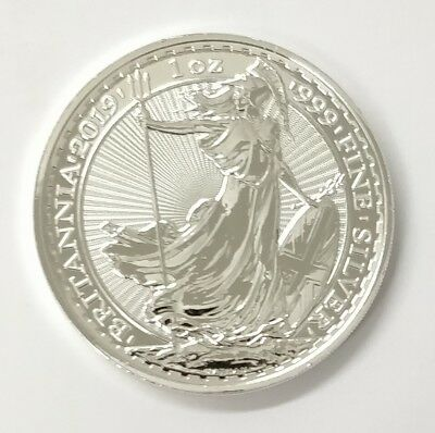 2019 Genuine Silver Britannia, unc: 1oz Troy ounce Fine Silver Bullion Coin