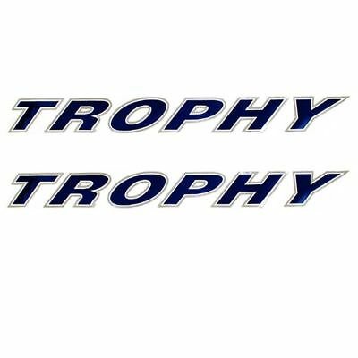 Bayliner Trophy Logo 45 Inch Royal Blue / Silver Boat Decals Pair