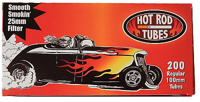 Hot Rod Full Flavor 100MM 100 Red - 2 Boxes - 200 Tubes Box Tobacco Cigarette