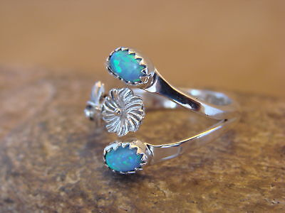Native American Indian Jewelry Sterling Silver Opal Adjustable Ring! Pino