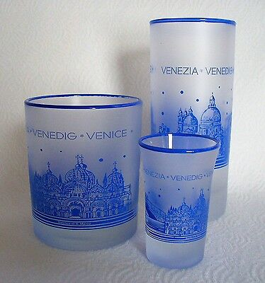 3~VENICE~ITALY~SOUVENIR~Drinking~FROSTED~Satin Shot Glass~TUMBLER~ROCK~BLUE