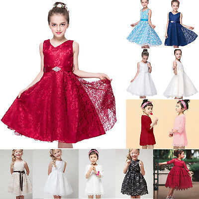 Flower Girls Princess Dress Kids Baby Party Pageant Lace Wedding Prom Dresses US