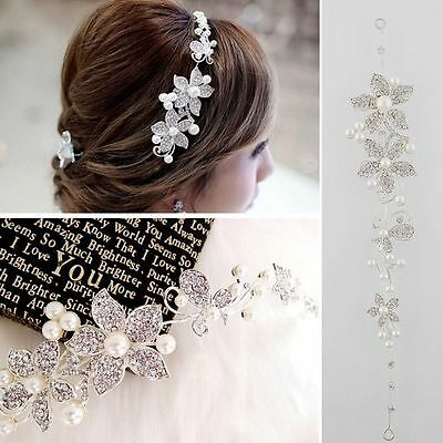 Floral Bridal wedding Head Piece Hair Accessories tiara Pearl Diamontes Bride