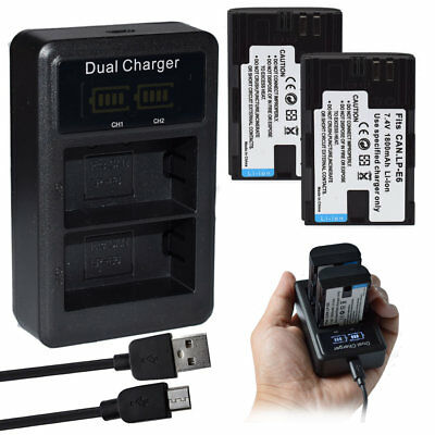 LP-E6 Battery for Canon EOS R 5D Mark II III IV 80D 70D 6D 7D / LCD USB Charger