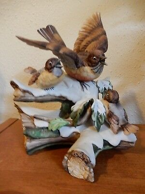 Hand Painted Porcelain Robin with Fledglings in Winter Figurine 7 1/2 Inch