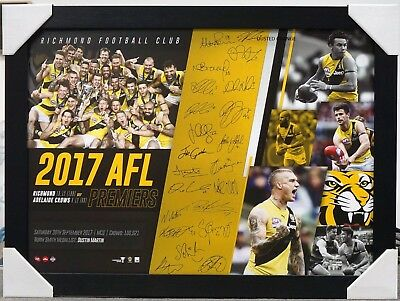 Richmond Afl Signed Print Framed - 2017 Premiers Cotchin, Dustin Martin, Rioli