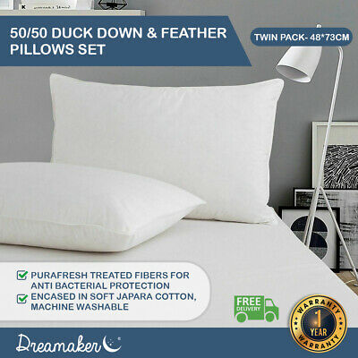 2x Dreamaker Twin Pack Feather Down Pillow Duck Bedding Cotton Cover 73 x 48cm