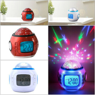 Music LED Star Sky Projection Lamp Digital Alarm Clock Calendar Thermometer Kids