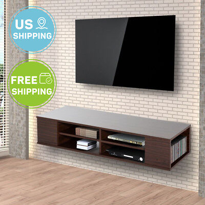 48 Wall Mount Tv Stand Entertainment Center Storage Cabinet Floating Shelf Brown