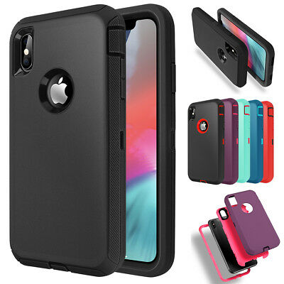 For iPhone XS Max XR Heavy Duty Tough Hybrid Armor Shockproof Rubber Case Cover