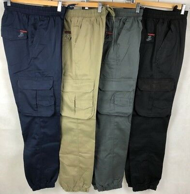 Men's Active Casual Workwear Cargo Pants Trousers, Elastic Waist With Drawstring