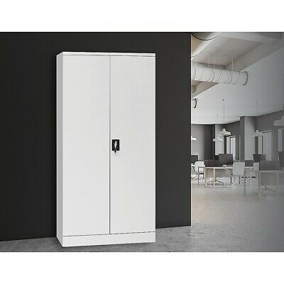 Two-Door Lockable File Shelf Office Gym Filing Storage Cabinet Safe