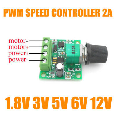 DC Motor 1.8V 3V 5V 6V 12V PWM Speed Controller 2A Potentiometer Knob Switch Set