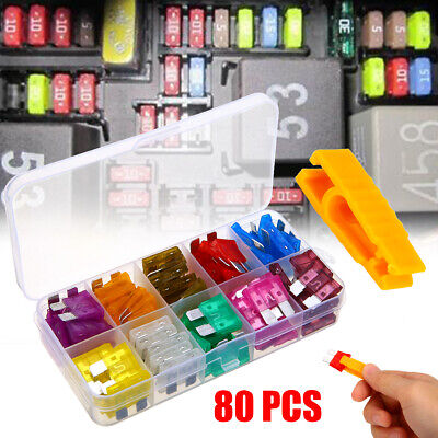 80pcs 12V Standard Blade Car Fuses Fuse 3A~40A Assorted Set + 1pc Puller Kit