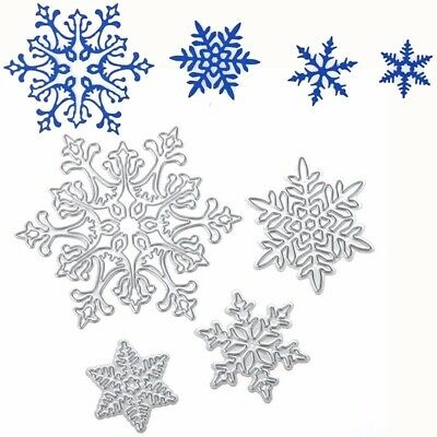 4pcs DIY Metal Snowflake Cutting Dies Stencils Scrapbooking Paper Cards Craft