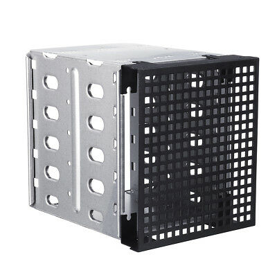 """5.25"""" to 5x 3.5"""" SATA SAS HDD Cage Rack Fit Hard Driver Tray Caddy + Fan Space"""