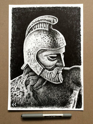 Original Art: Ink drawing of Talos - Ray Harryhausen's Jason and the Argonauts
