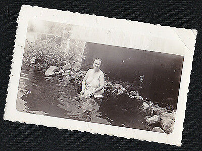 Vintage Antique Photograph Older Woman in House Dress Sitting By Rocks in Water