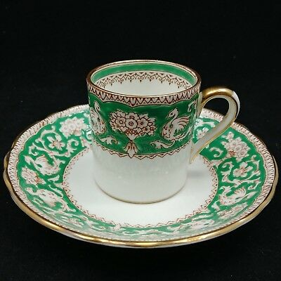 Crown Staffordshire Ellesmere Tea Cup and Saucer, Green & White w / Gold Trim