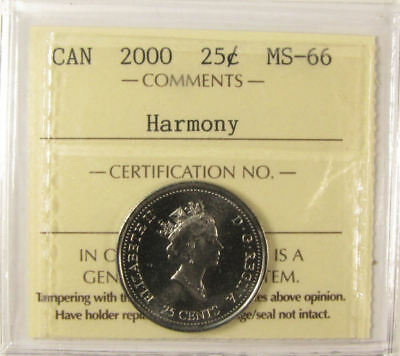 2000 Canada   25 cent  Harmony   grading by ICCS MS-66  coin