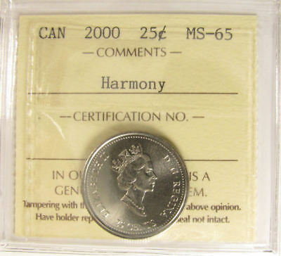 2000 Canada   25 cent  Harmony   grading by ICCS MS-65  coin