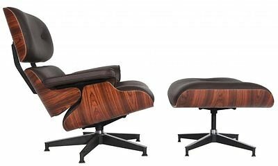Eames Mid-Century Lounge Chair & Ottoman Reproduction REAL Dark Brown Leather