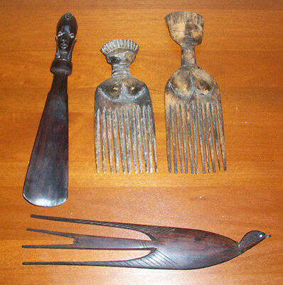 Vintage Hand Carved Wood Items Black Bird Comb, Shoe Horn