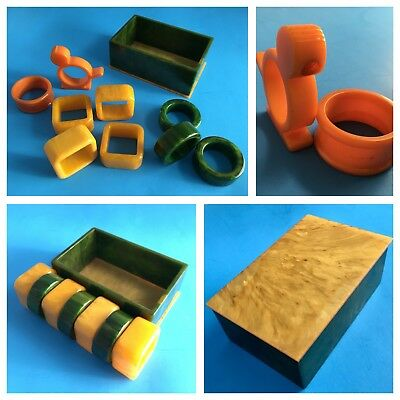 VINTAGE BAKELITE Marbled Napkin Rings + 2-Color Container/Box 10 Pieces GERMANY