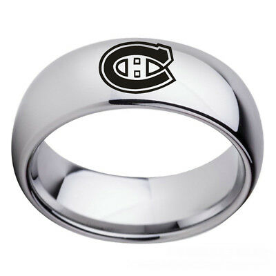 Montreal Canadiens NHL Teams Stainless Steel Arc Edge Ring Silver Band Size 6-13