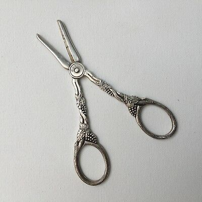 Vintage Ornate Silver Plated Grape Scissors Decorated With Grapes & Leaves