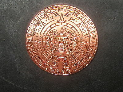 """40Mm 2012 Aztec Mayan Calendar Mexican Copper Round Coin """" The End Is Near"""""""